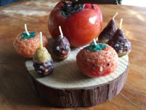秋のキャンドル どんぐり栗柿